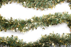 Artificial fir branch garland with tinsel Royalty Free Stock Images