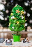 Artificial fir tree. With handmade decoration Royalty Free Stock Photos
