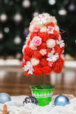 Artificial fir tree. With handmade decoration Stock Photography