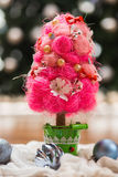 Artificial fir tree. With handmade decoration Stock Photos
