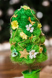 Artificial fir tree. With handmade decoration Royalty Free Stock Image