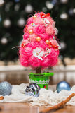 Artificial fir tree. With handmade decoration Royalty Free Stock Photo