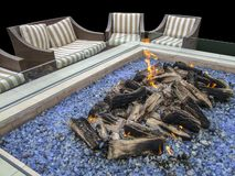 Artificial fireplace Stock Images