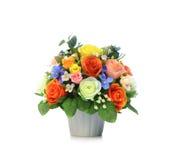 Artificial Flower Arrangement. Colorful Artificial Flower Arrangement on white background Stock Images