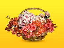 Artificial flower in a basket stock photo