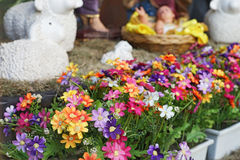 Artificial flower with blurred birth of Jesus Royalty Free Stock Image