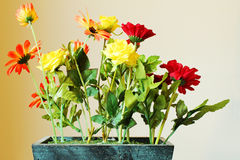 Artificial flower with pot Stock Photos