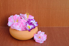 Artificial flower in pottery Royalty Free Stock Photography