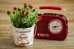 Artificial Flower, Red Vintage Radio on Wooden Background Stock Images