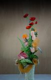 Artificial flower in vase Royalty Free Stock Images