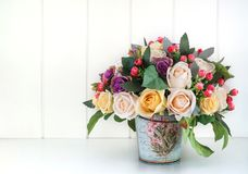 Artificial flowers arrangement for home decoration Royalty Free Stock Photos