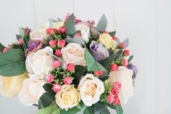 Artificial flowers arrangement for home decoration Stock Photos