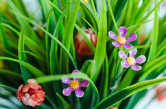 Artificial flowers. Beautiful close up the artificial flowers Stock Images