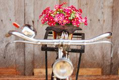 Artificial flowers on bicycle in rainy day Stock Images