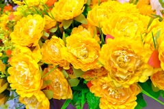Artificial flowers bouquet. The yellow flowers are flowers blooming Royalty Free Stock Photos