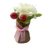 Artificial flowers, cherry. On a white background Royalty Free Stock Photography