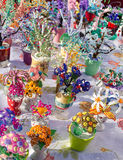 Artificial flowers decor small plastic beads fair Royalty Free Stock Image