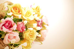 Artificial flowers made from cloth on white background. Artificial flowers made from cloth Royalty Free Stock Photo