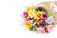 Artificial flowers made from cloth on white background Royalty Free Stock Photography