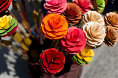 Artificial flowers made from wood Royalty Free Stock Photos