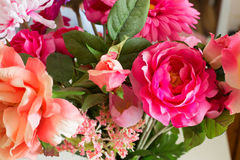 Artificial flowers of the material as a permanent decoration of the interior Stock Photography