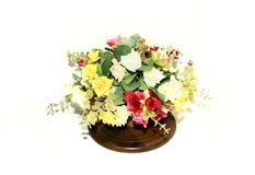 Artificial flowers in a pot Royalty Free Stock Image