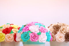 Artificial flowers roses from foam Stock Photos