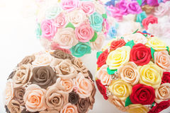 Artificial flowers roses from foam Royalty Free Stock Photos