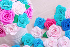 Artificial flowers roses from foam Stock Images