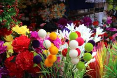 Old Goa Fest. These are artificial flowers for sale at old Goa fest stock photos