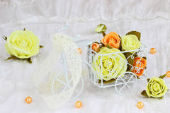 Artificial flowers and  tricycle for decoration Stock Photo