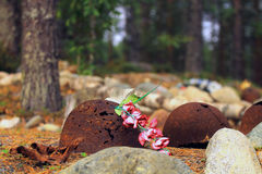 Artificial Flowers and Unearthed WWII Helmets Royalty Free Stock Photo