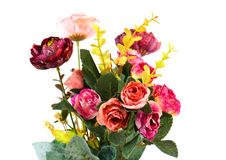 Artificial Flowers on white background Royalty Free Stock Images