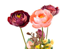 Artificial Flowers on white background Stock Photo
