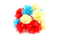 Artificial flowers on white background Royalty Free Stock Photography