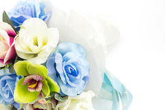 Artificial flowers on white background Royalty Free Stock Photos