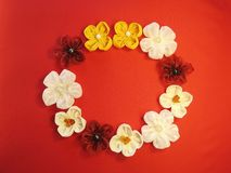 Artificial flowers wreath Royalty Free Stock Photos
