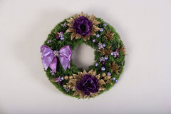 Artificial flowers wreath  on white Stock Photo