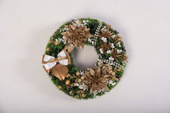Artificial flowers wreath  on white Stock Photos