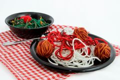 Artificial Food Spaghetti Dinner Created With Yarn Stock Images