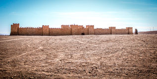 Artificial fortress for film set. In the moroccan desert Royalty Free Stock Photo