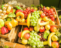 Artificial fruit, vegetable and mushroom. Horizontal photo, photo took in Moscow's market in Russia Royalty Free Stock Images