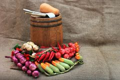 Artificial fruits and vegetables arrangement. Royalty Free Stock Photography