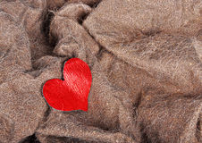 Artificial fur texture with red heart Stock Images