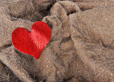 Artificial fur texture with red heart Royalty Free Stock Image