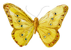 Artificial golden butterfly isolated on the white background Royalty Free Stock Photography