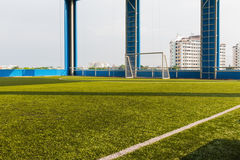 Artificial grass indoor soccer pitch Royalty Free Stock Photo