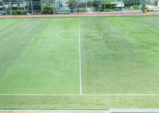 Artificial grass of soccer field Royalty Free Stock Images