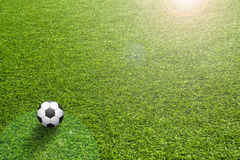 Artificial grass with sun flare and soccer ball Stock Photos