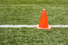 Artificial grass and traffic cones. Artificial grass and traffic cones in football field Stock Photos